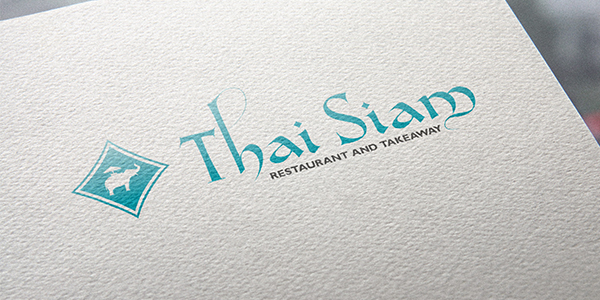 A Thai Food Restaurant logo printed on recycled card.